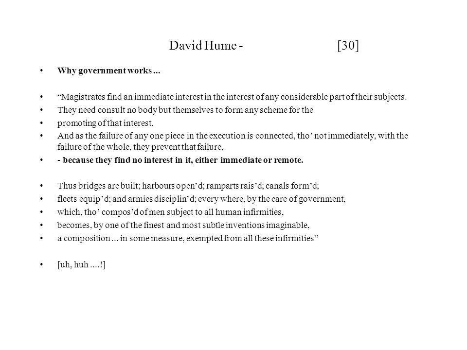 David Hume - [30] Why government works ...